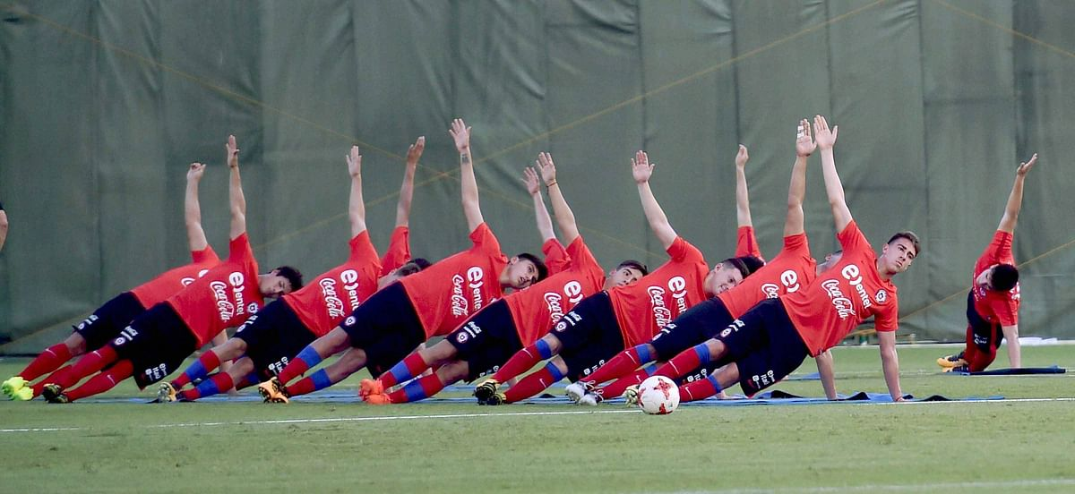 Chile team players train for U-17 Football World Cup in Kolkata on Wednesday.