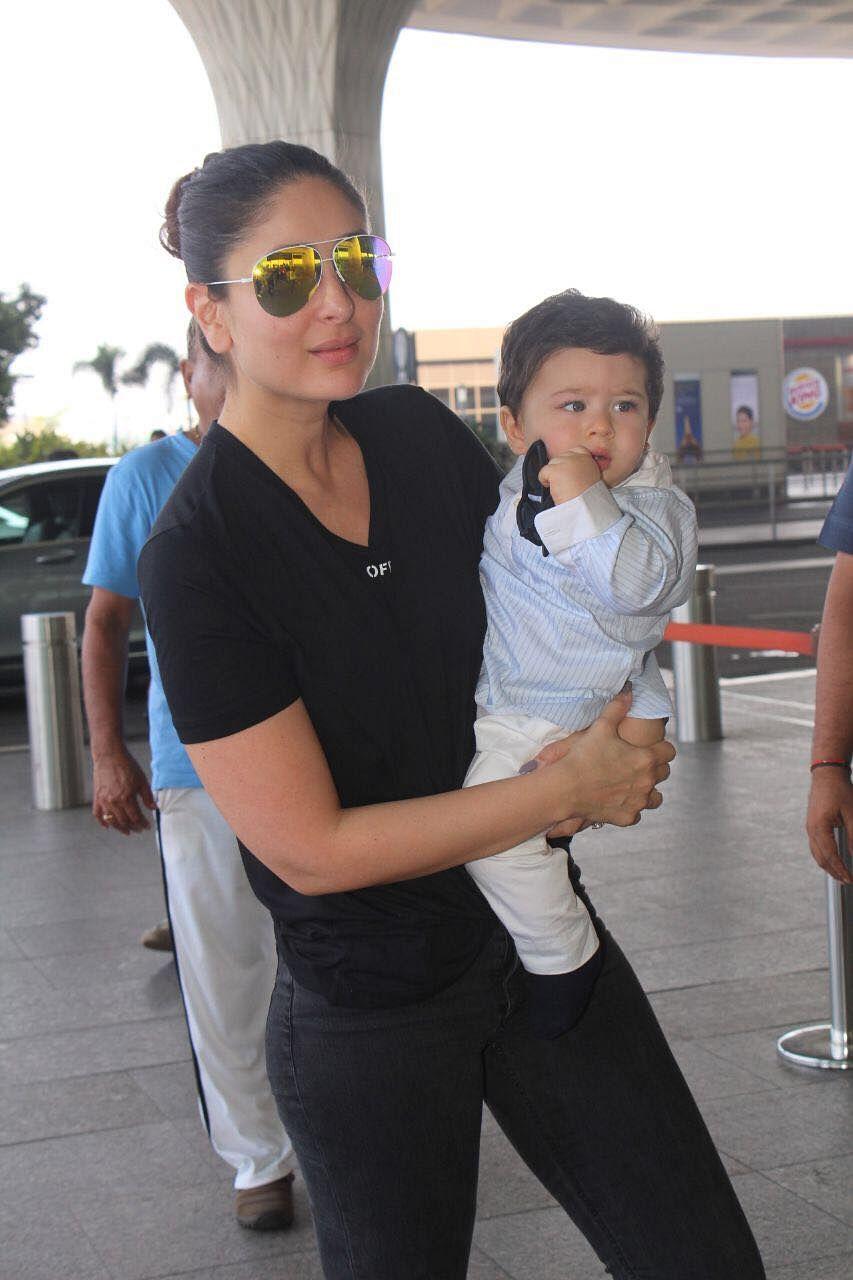 Kareena Kapoor and Taimur spotted at the airport.