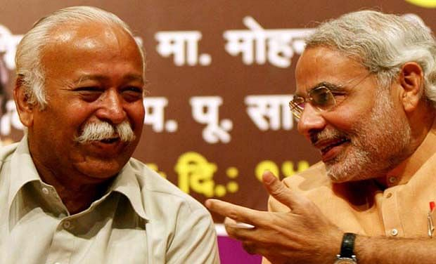 Prime Minister Narendra Modi with RSS chief Mohan Bhagwat.