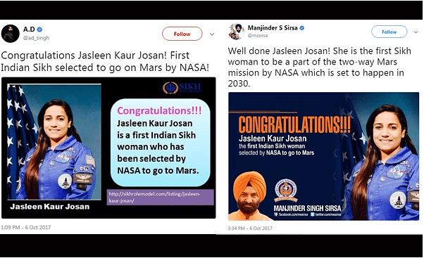Jasleen Josen Clarifies After Fake News on NASA Selection