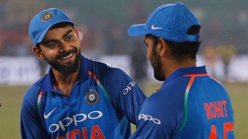 India vs New Zealand:  Virat Kohli with Rohit Sharma after winning the one-day international cricket series against New Zealand.