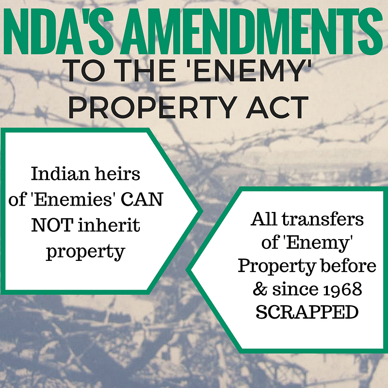 Details of the ordinance and the Enemy Property Act (Amendment & Validation) 2016.