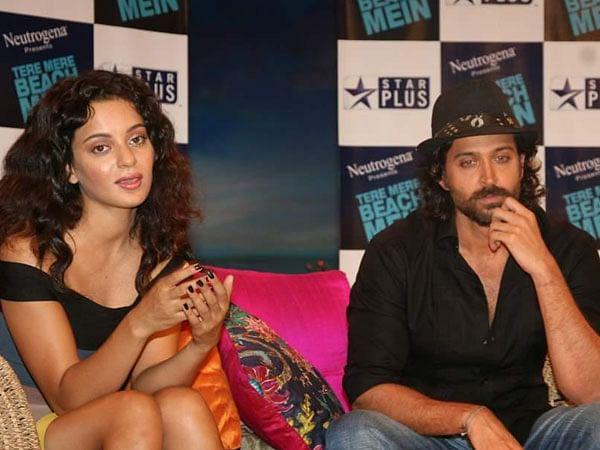 Kangana and Hrithik at a film promotion.