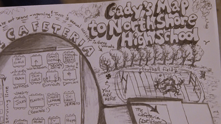 Cady's map to North Shore High School in <i>Mean Girls </i>(2004)