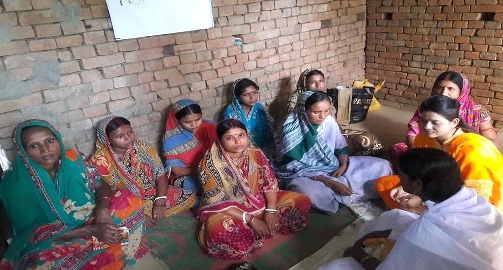 Women of Ilami panchayat learn about health, hygiene and pregnancy care at the night school.