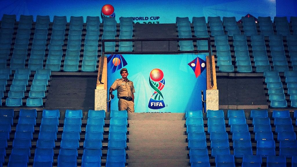 A security officer stands guard at the Indira Gandhi Athletic Stadium, one of the venues for the FIFA U-17 World Cup football in Gauhati, India, Wednesday, Oct. 4, 2017.&nbsp;<a></a>