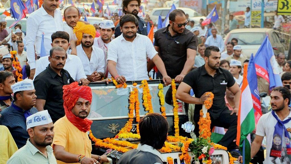 PAAS convener Hardik Patel during a road show in Bhavnagar on Sunday, 29 October.