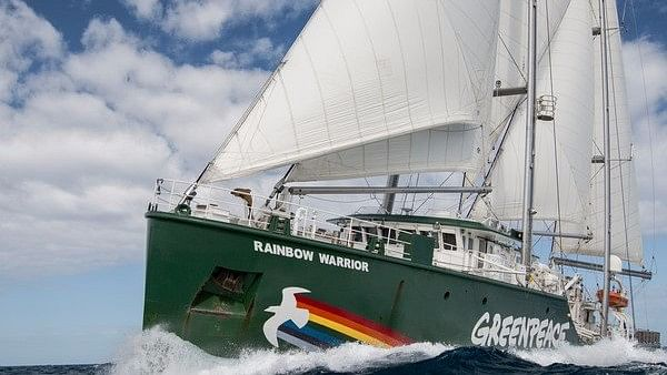 Greenpeace Organisation's Rainbow Warrior heads out for a campaign.