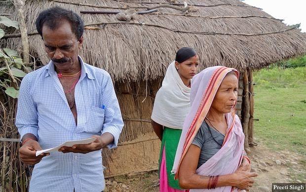 Ramsheela Devi of Bhiknathori village, with her husband and Madhu Devi.