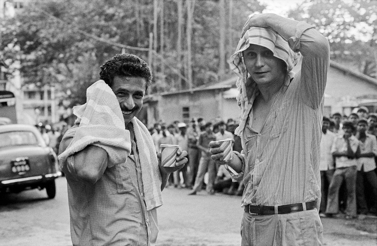 Naseeruddin Shah and Stellan Skarsgard on the set of <i>The Perfect Murder,</i> Bombay 1987.