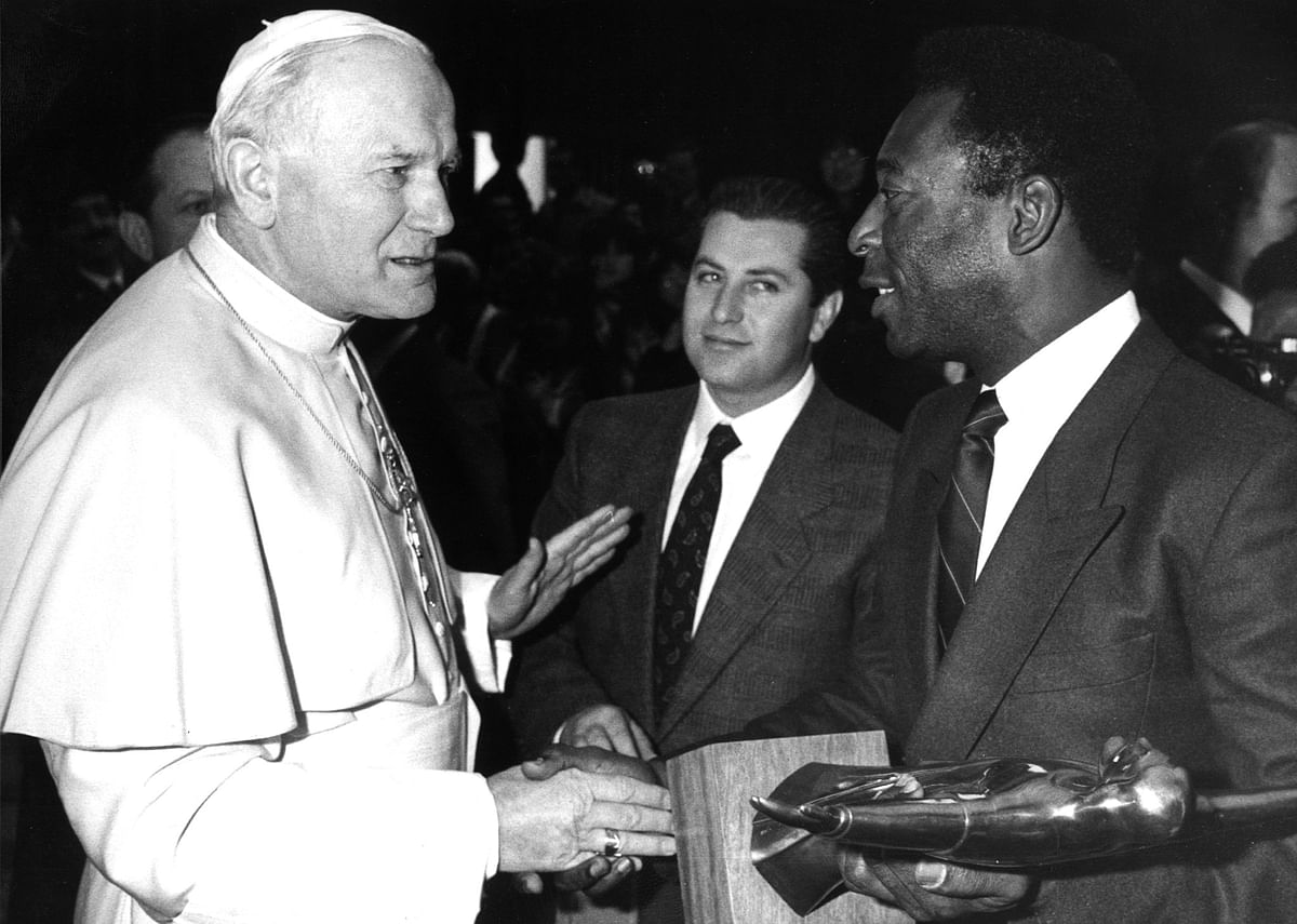 File photo showing former Brazilian soccer star Pele with Pope John Paul II during their meeting at the Vatican on 18 March 1978. Pele led Brazil to three World Cup titles as a player in 1958, 1962 and 1970.