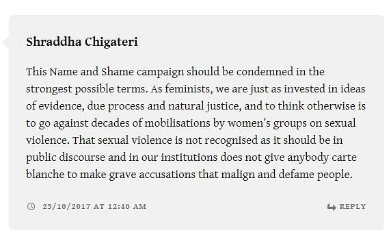 A reader comment on the Kafila statement.
