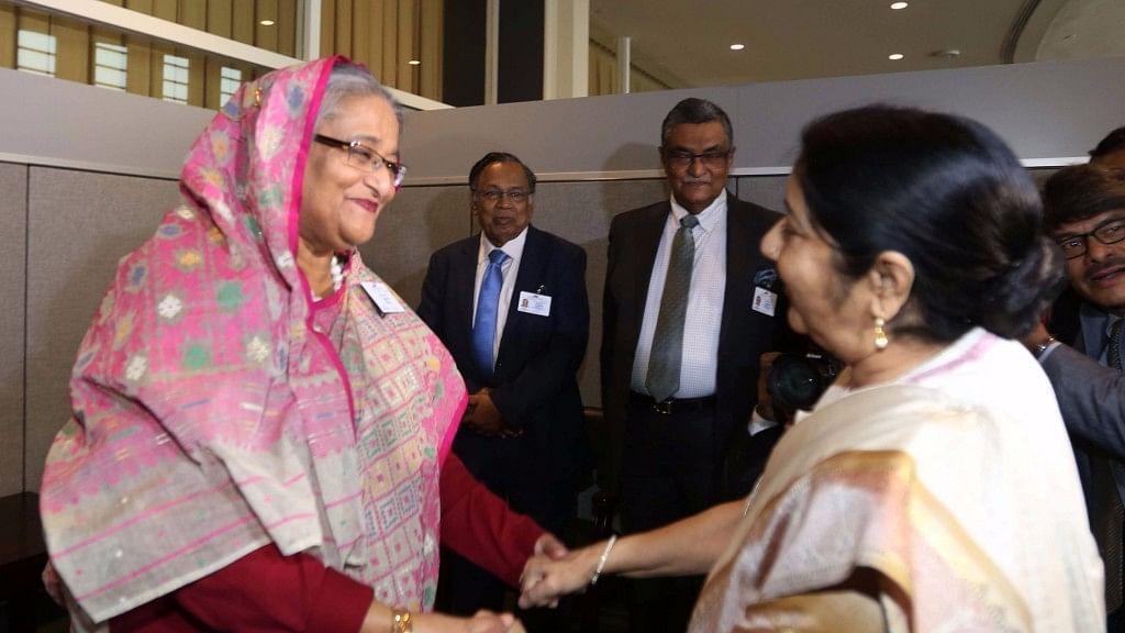 File image of Bangladeshi Prime Minister Sheikh Hasina and EAM Sushma Swaraj.