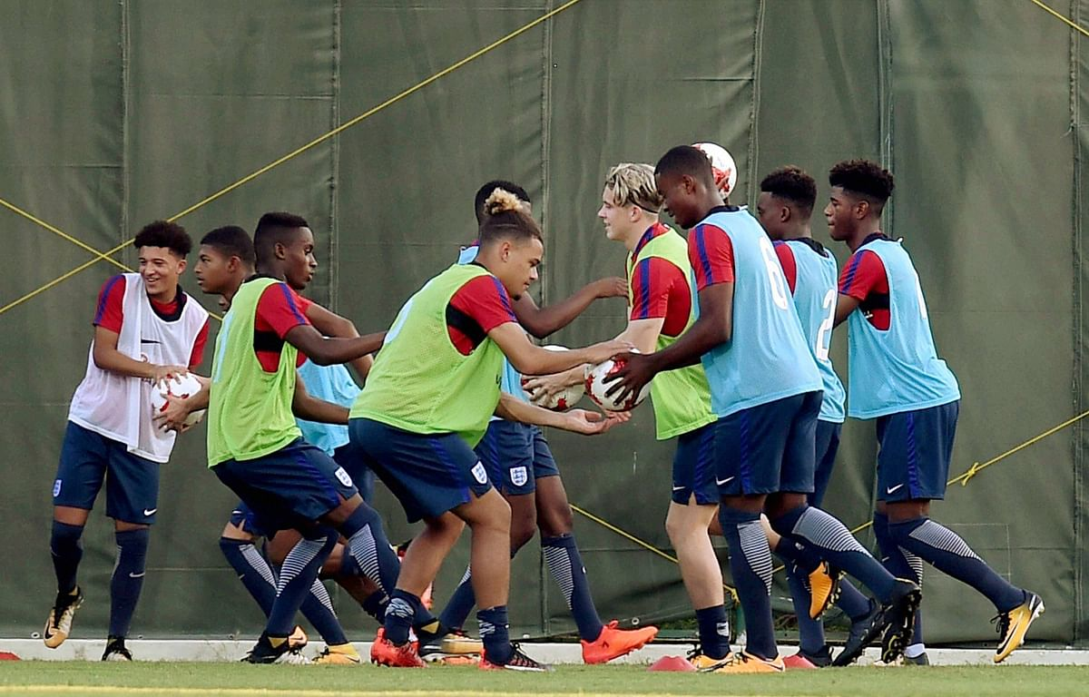 England football team practicing for the FIFA U-17 World Cup at SAI (Sports Authority of India) Complex in Kolkata