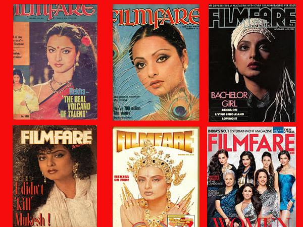 Rekha's many <i>Filmfare</i> covers.&nbsp;