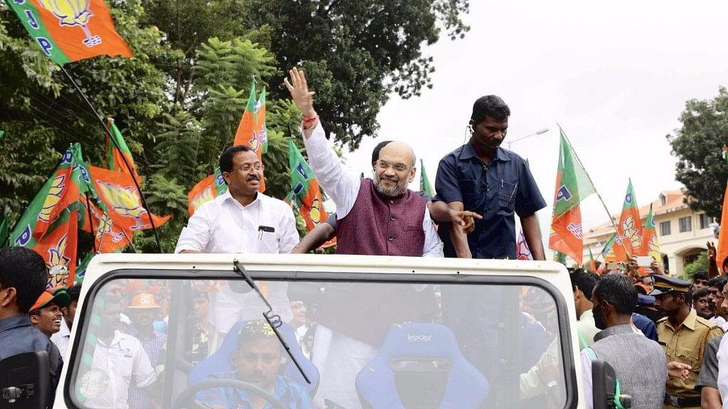 "Amit Shah joins back the last leg of Janaraksha Yatra in Thiruvananthapuram. (Photo Courtesy: Amit Shah/<a href=""https://twitter.com/AmitShah/status/920286549765443584"">Twitter</a>)"