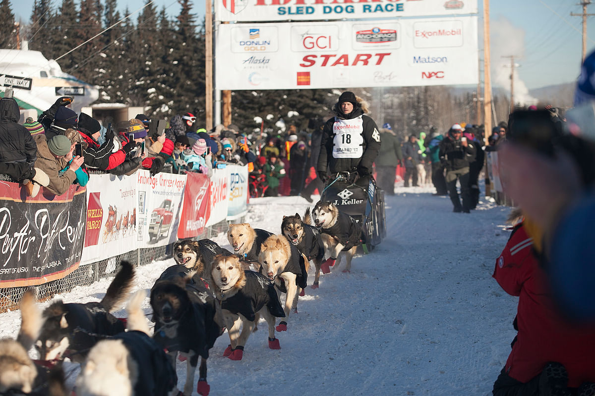In this March 6, 2017, file photo, Dallas Seavey, four-time Iditarod winner and reigning champion, is seen during competition.