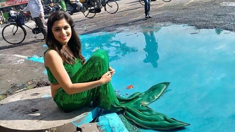 Actor Sonu Gowda Posing as a Mermaid
