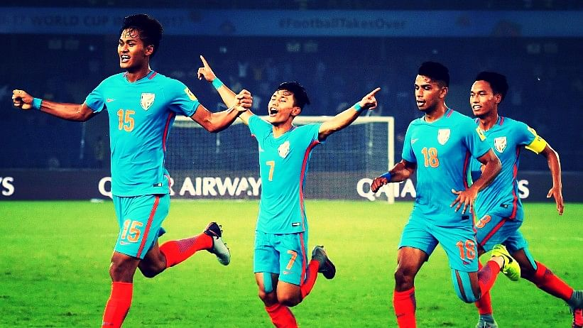Jeakson Singh celebrates after scoring a goal against Colombia.