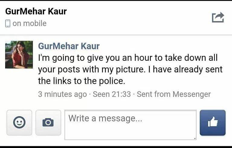Gurmehar's message to Squint Neon's admin.