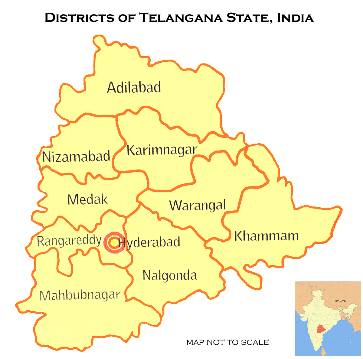 Map showing the districts within Telangana.
