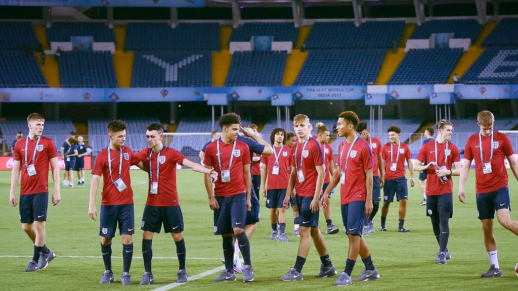 Kolkata: England players during a practice session for the U-17 Football World Cup in Kolkata on Friday.