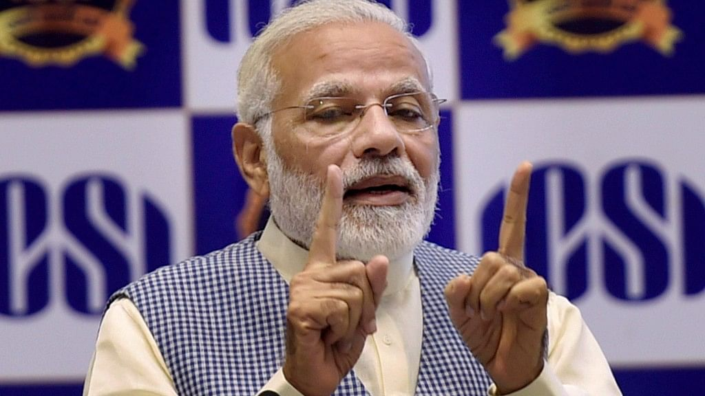 Prime Minister Narendra Modi addresses during the inauguration of the Golden Jubilee Year Celebrations of the Institute of Company Secretaries of India (ICSI) at Vigyan Bhavan in New Delhi on Wednesday.