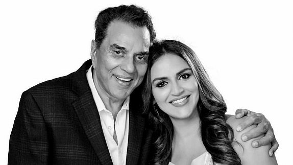Dharmendra with new mother Esha Deol.
