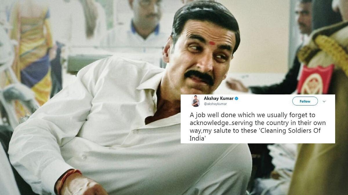 Akshay Kumar posted a tweet normalising manual scavenging, got trolled on Twitter.