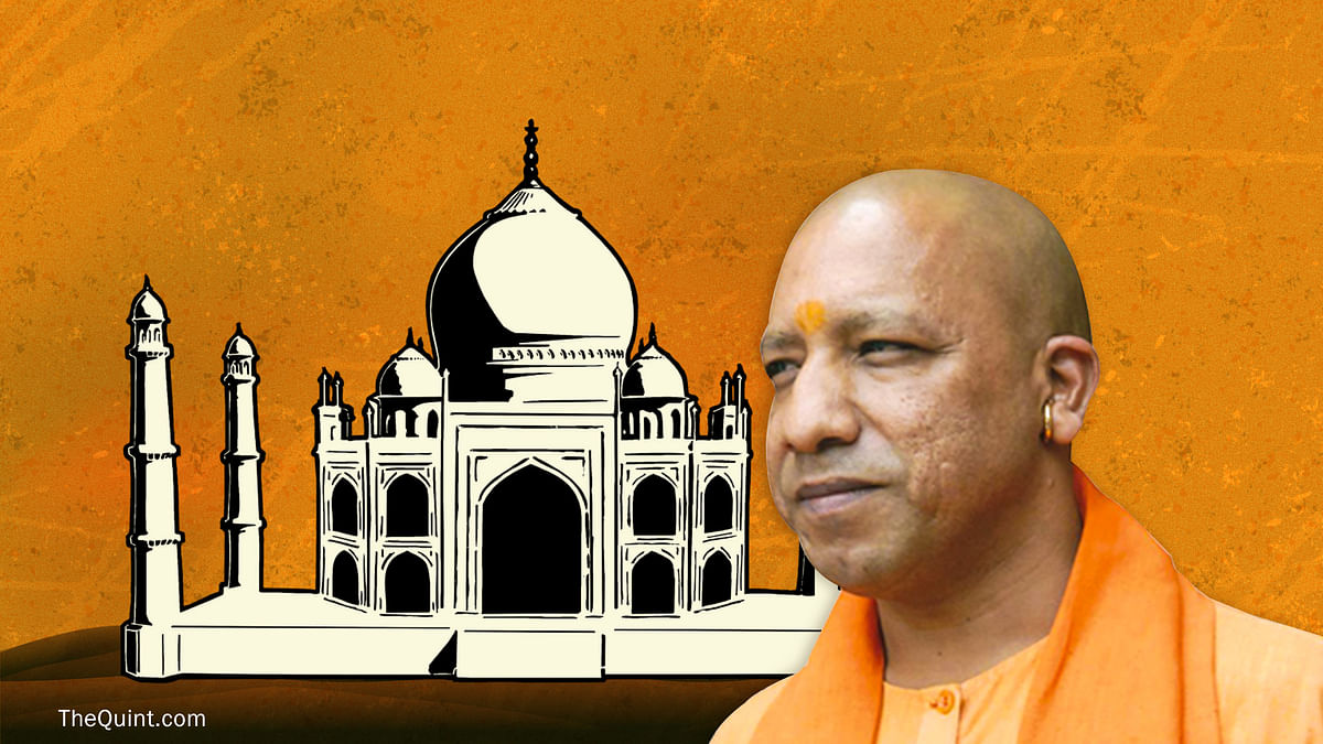 Uttar Pradesh Chief Minister Yogi Adityanath. <i>(Photo: Altered by <b>The Quint</b>)</i>