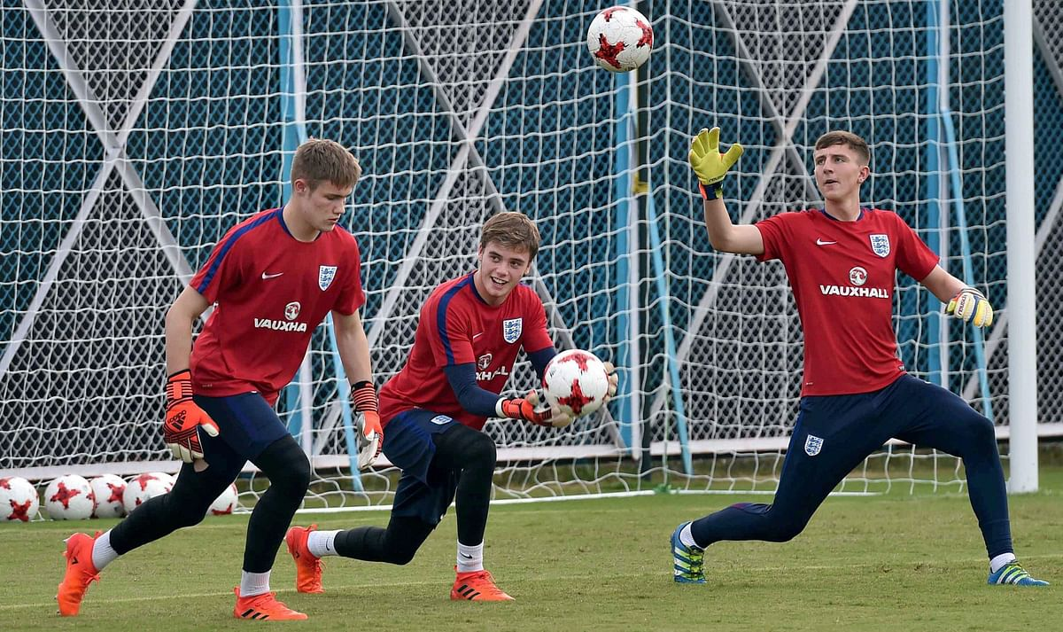 Kolkata:  England football team players during a practice session for the U-17 Football World Cup, in Kolkata