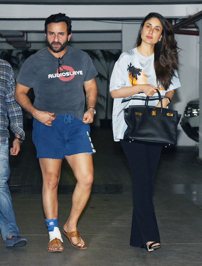 Saif seems to be nursing a leg injury, the actor has been busy promoting his film <i>Chef </i>which releases on Friday.
