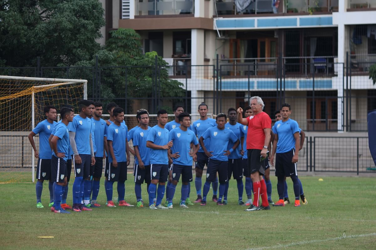 The Indian team attend a practice session. (Photo Courtesy: AIFF)