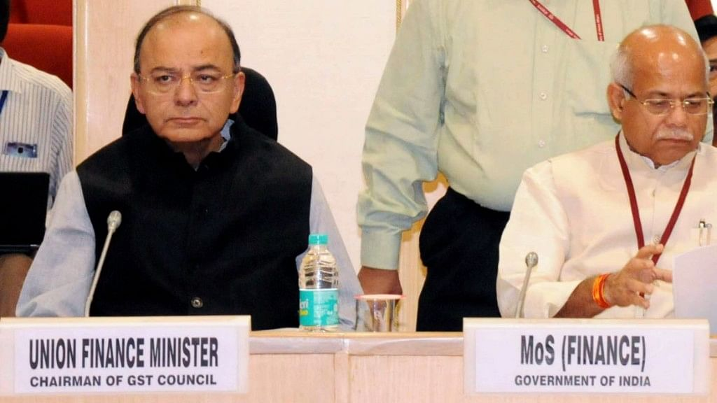 Finance Minister Arun Jaitley (left) chairing the 22nd meeting of the GST Council in New Delhi, on 6 October 2017.