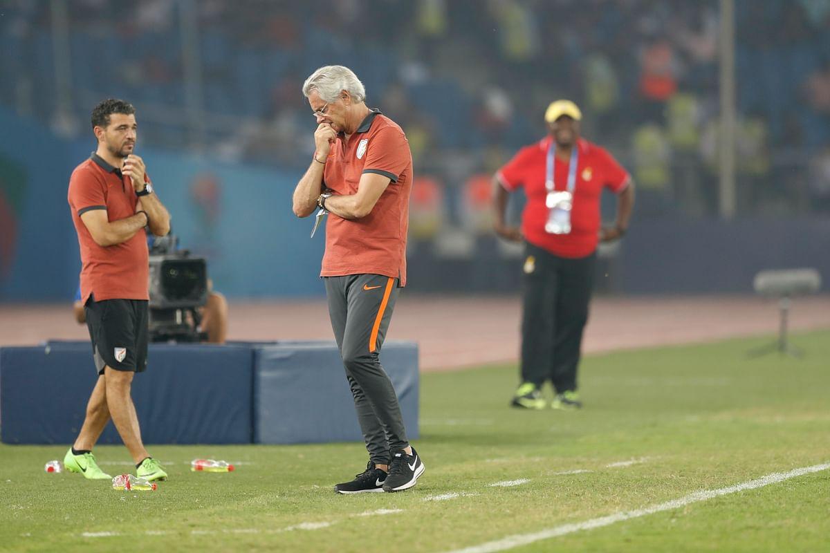 India's head Coach Luis Norton de Matos reacts during the match against Ghana.