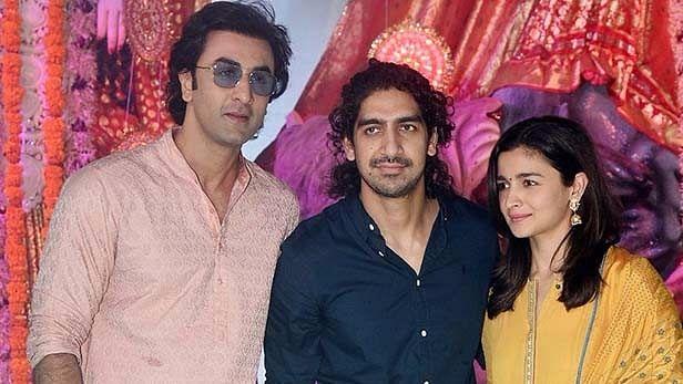 Ranbir Kapoor, Ayan Mukerji and Alia Bhatt pose for the cameras.