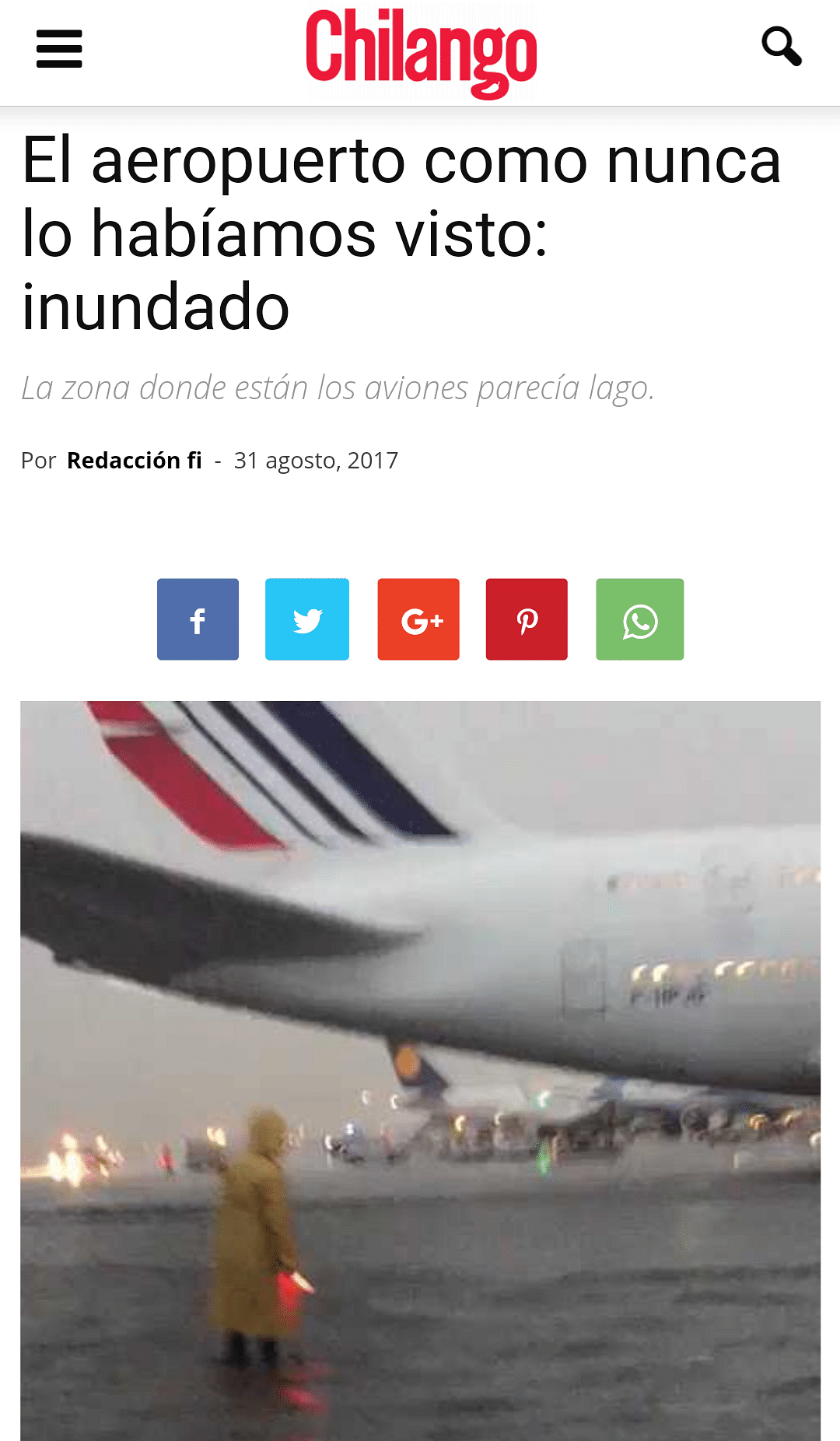 Screengrab of the article published about the waterlogging in  Benito Juárez International Airport in Mexico City.