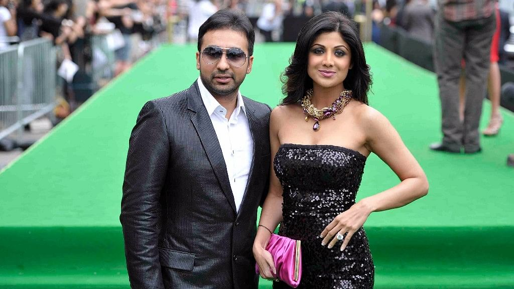 Shilpa Shetty with husband Raj Kundra at an event.