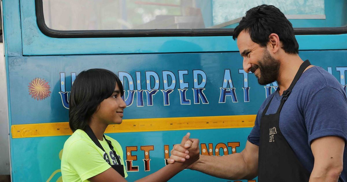 Svar Kamble and Saif Ali Khan in a scene from <i>Chef. </i>