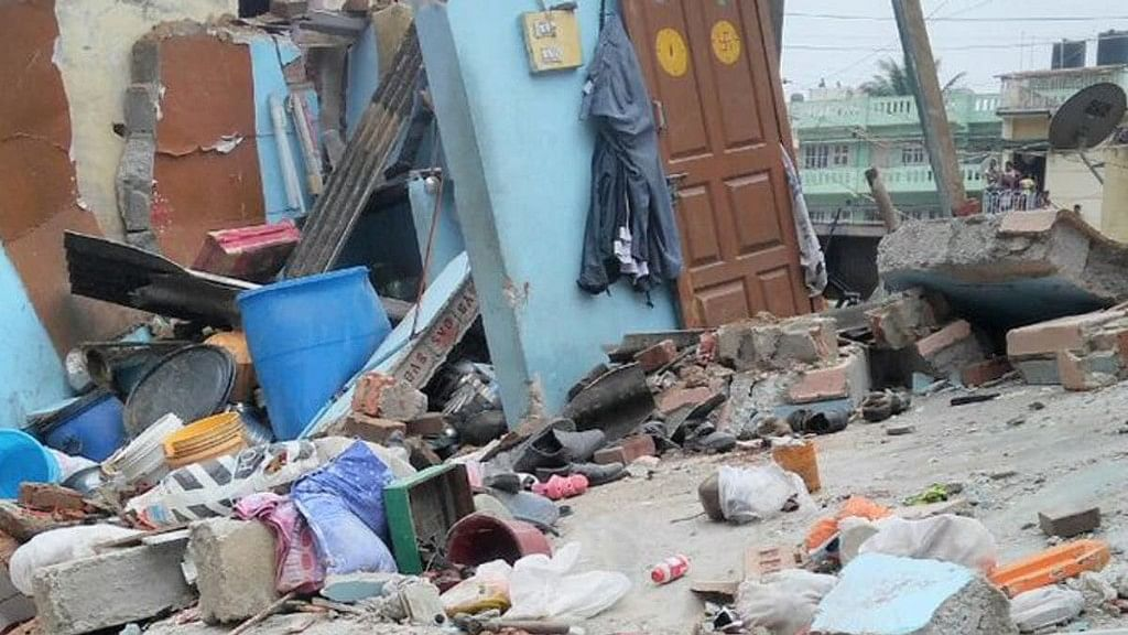 Seven persons were killed and three injured when a portion of a residential building collapsed in Ejipura, Bengaluru.