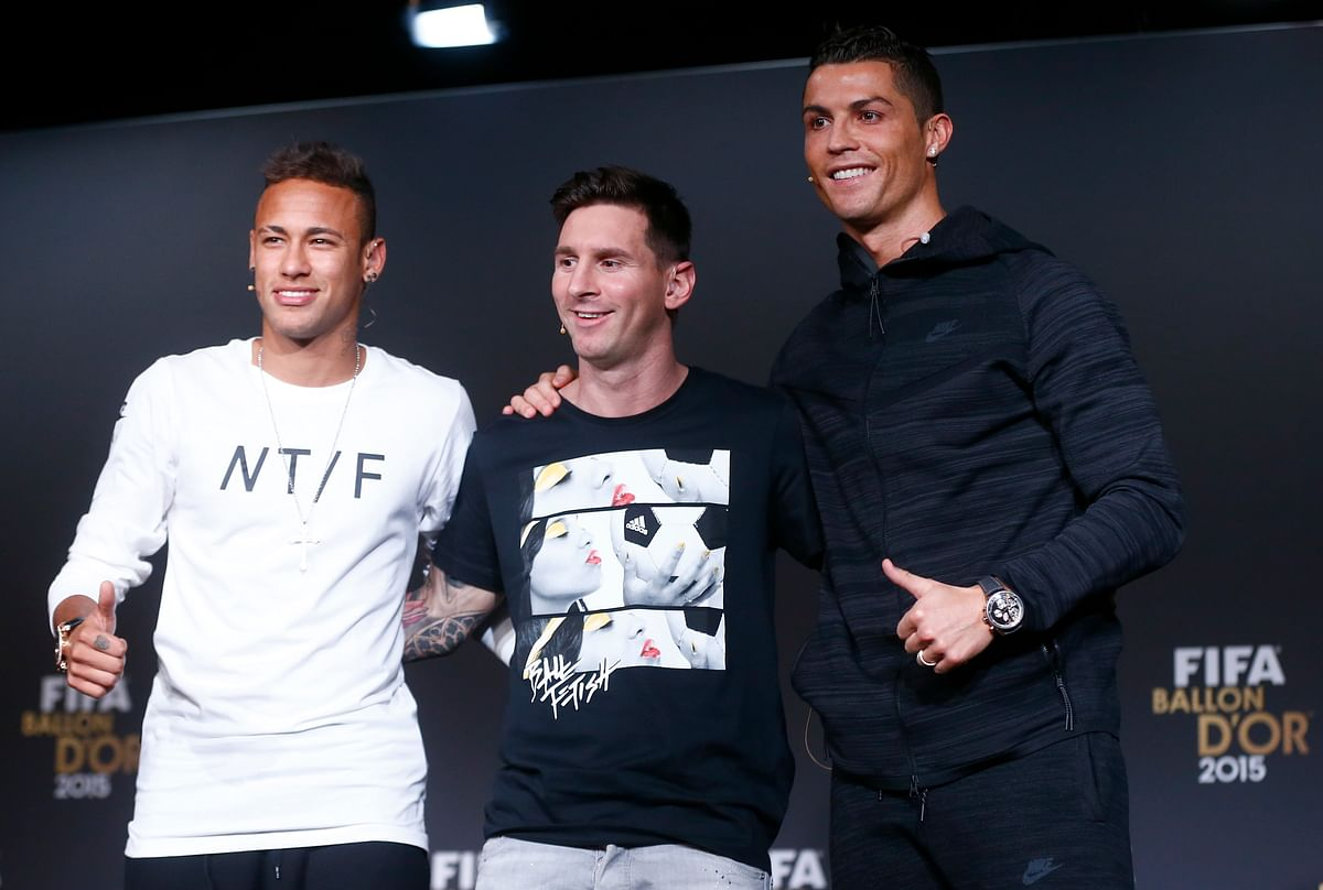 Neymar, Lionel Messi and Cristiano Ronaldo during an awards ceremony in 2015.