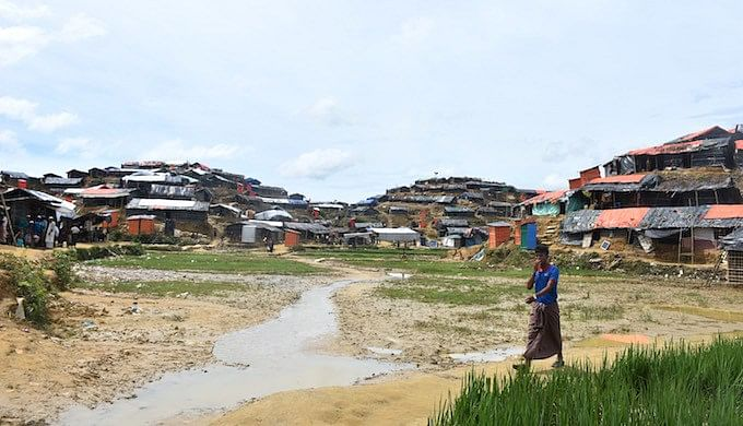 A Rohingya refugee camp in Moinar Ghona in Cox's Bazar district of Bangladesh. More than half a million Rohingya people have newly arrived in Bangladesh from Myanmar since 25 August 2017.