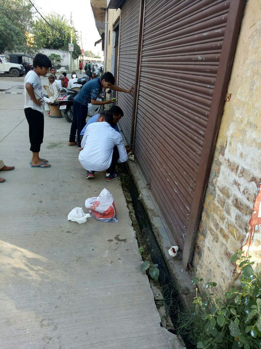 A firecrackers shop being sealed in Gurugram's Sector-10.