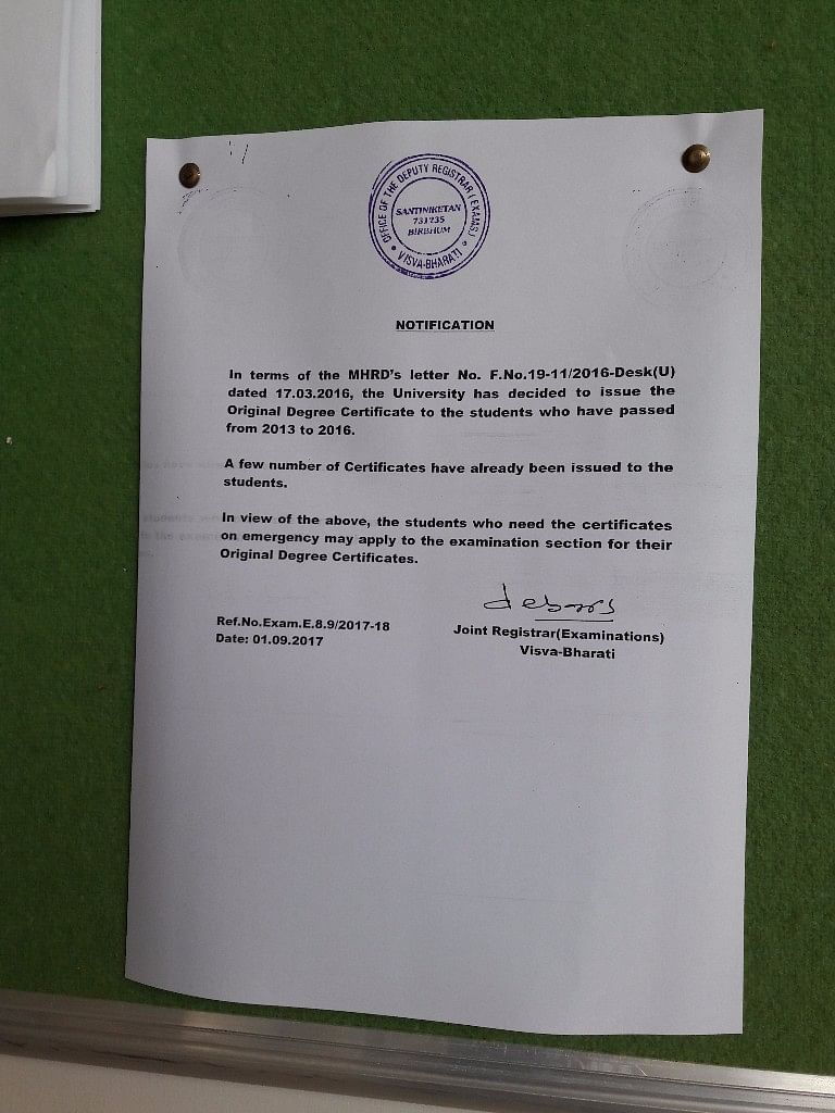 Notice at the Visva Bharati University informing about the distribution of degrees.