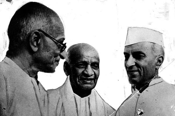 Mahatma Gandhi, Sardar Vallabhai Patel, and Jawaharlal Nehru.