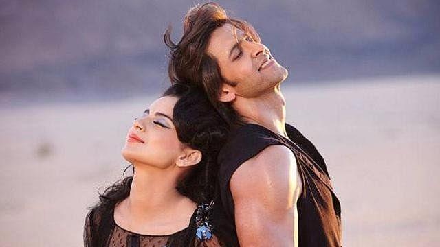 Kangana Ranaut and Hrithik Roshan in a scene from <i>Krrish 3.</i>