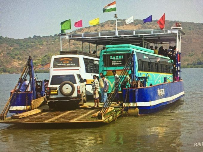"""Buses on a ferry in Maharashtra. (Photo Courtesy: Twitter/ <a href=""""https://twitter.com/brokenu2"""">@brokenu2)</a>"""