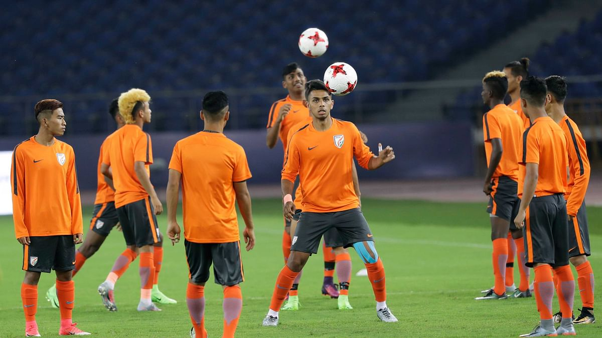 Indian Under-17 team at a practice session.