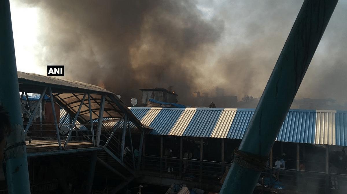Fire at Behrampada near Bandra Station.