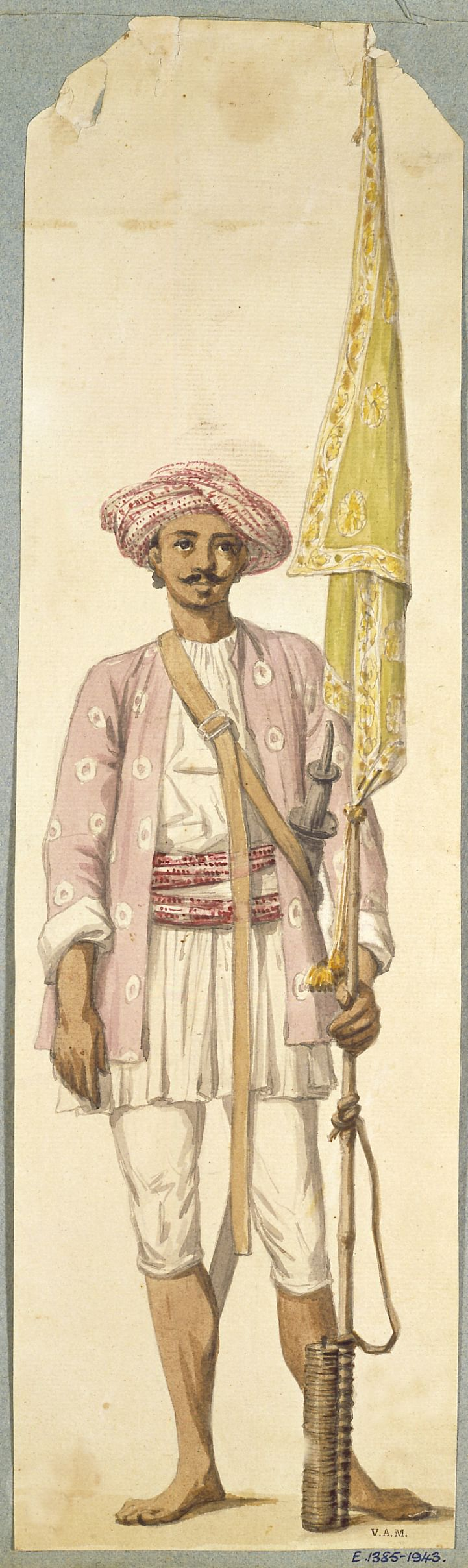 A soldier of Tipu Sultan's army, using his rocket as a flagstaff